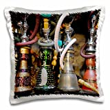 3dRose Spain, Andalusia, Granada. Moroccan Hookahs for Sale in a Small Shop. Pillow Case, 16 x 16