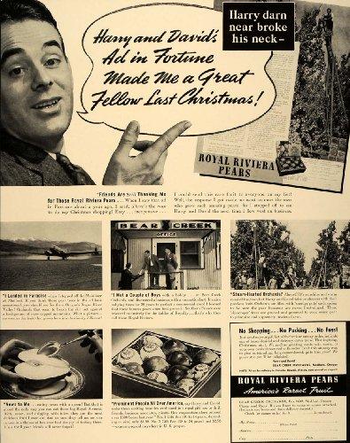 1940 Ad Harry and David Royal Riviera Pears Orchard OR - Original Print Ad