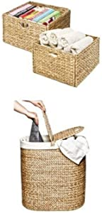 Seville Classics Hand-Woven Water Hyacinth Storage Baskets, 2-Pack & Seville Classics Water Hyacinth Oval Double Hamper, Hand-Woven