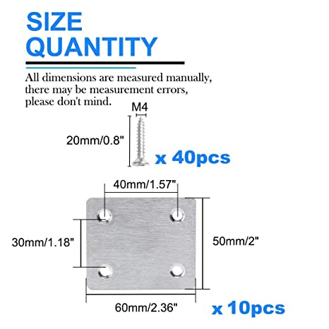 ZCHXD 10pcs Straight Bracket Stainless Steel 50mm Flat Brace ...