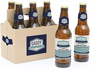 product image for Big Dot of Happiness Daddy's First Milestones - Decorations for Men - 6 Beer Bottle Label Stickers and 1 Carrier