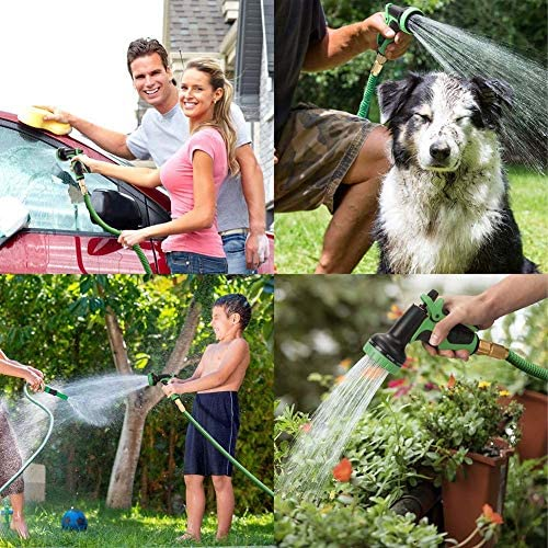 XNDCYX Expandable Garden Hose, Leakproof Lightweight No-Kink Water Hose, Flexible Garden Hose Pipe with 8 Function Spray Gun, Brass Fittings, for Lawn/Pet/Car/Boat Wash,7.5M/25FT