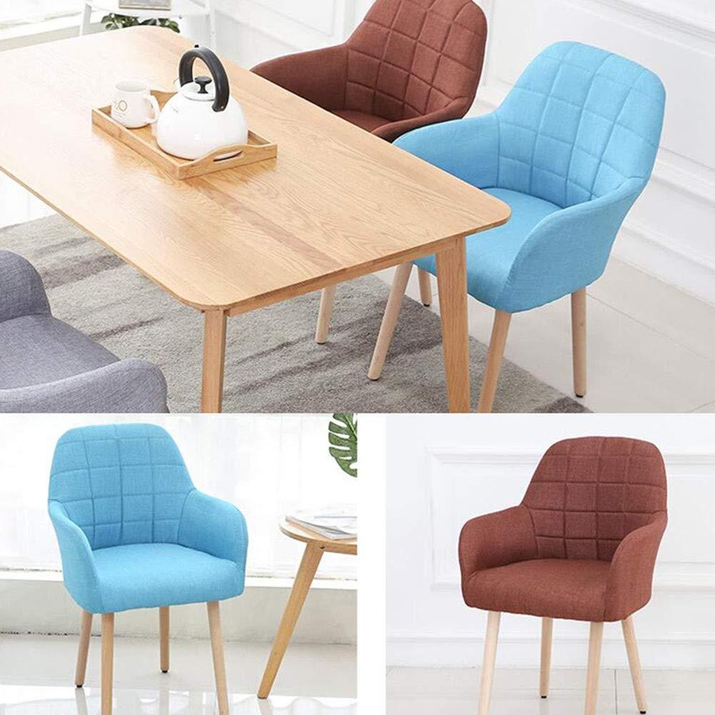 JIEER-C fritidsstol soffa stol modern minimalistisk kreativ massivt trä matrumsstol linne skydd stoppat ryggstöd bordsstol 45 x 48 x 82 cm hållbar stark BLÅ