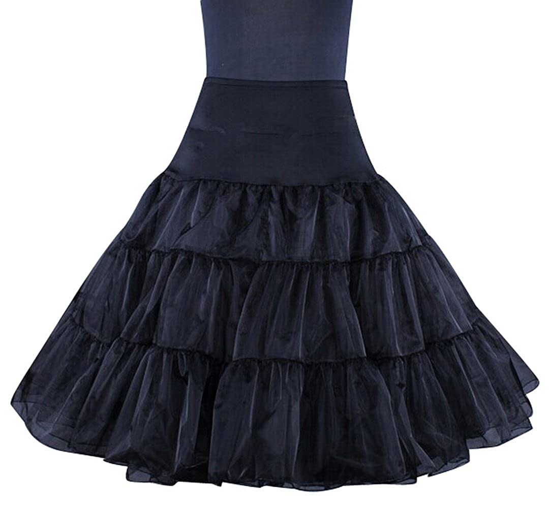 ea396b5a4c3 Amazon.com  50s Retro Underskirt Swing Vintage Petticoat Fancy Net Skirt  Rockabilly Tutu (Black)  Clothing