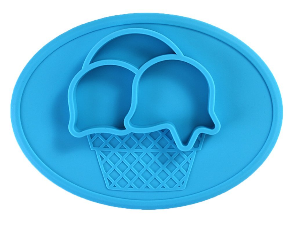 LLZJ Babies Silicone Suction Suction Stay Put Bowl Separate Placemat Antidérapant Anti-Fall Toddler Training Feeding Dishes Tableware Children's Cutlery,Blue