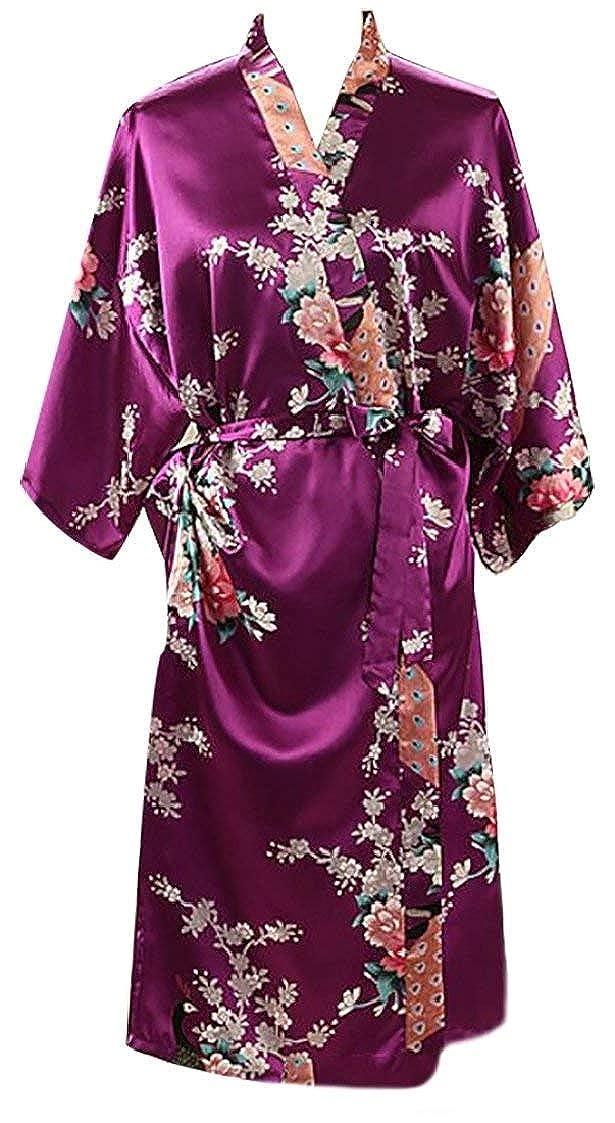 Bademantel Damen Frühling Herbst Kimono Fashion Elegante Casual Pyjama Langarm Classic V-Ausschnitt Blumenprint Mit Gürtel Nachthemd Morgenmantel Kleidung (Color : Violett, Size : S)