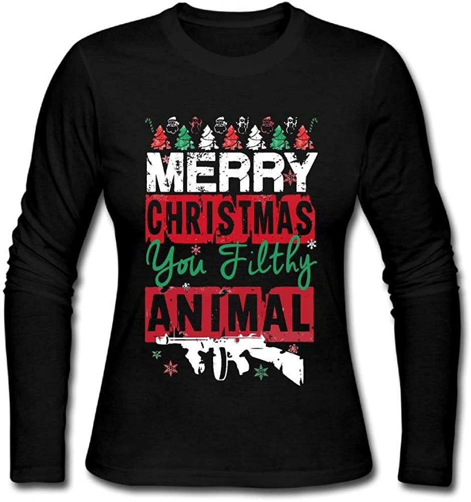 Women's Fit Long Sleeve Crew Neck Cotton Merry Christmas Ya Filthy Animal Top