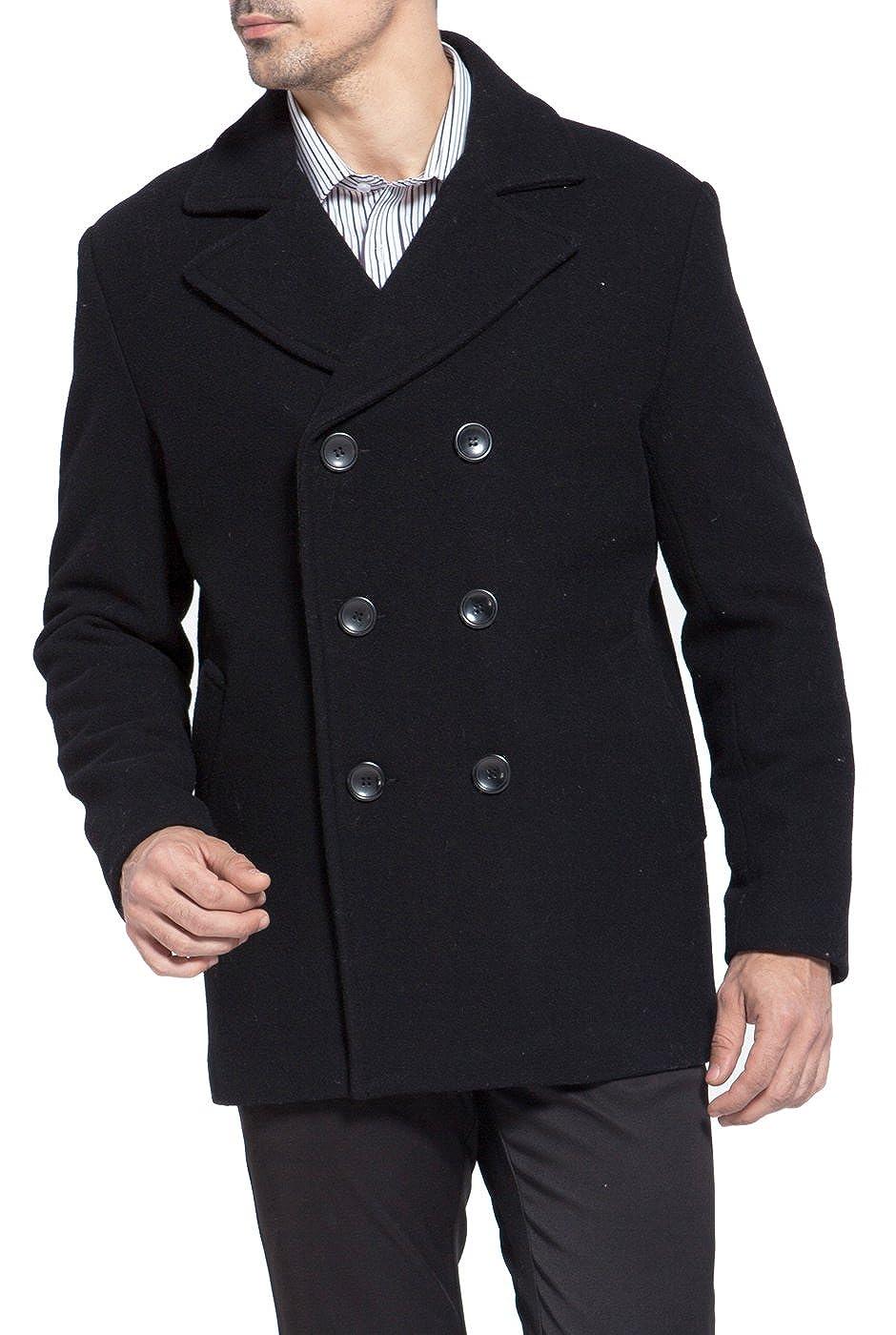 Big and Tall 4XLT BGSD Mens Mark Classic Wool Blend Pea Coat Black