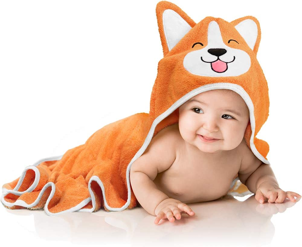 Baby Aves Premium Hooded Baby Towel, 100% Organic Bamboo, Free Washcloth, Registry Gift, 35x35 for Newborns, Infants, Toddlers & Kids, for Boys & Girls at Bath, Pool & Beach (Orange)