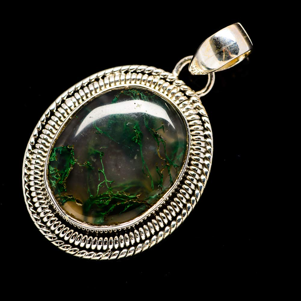 Bohemian 925 Sterling Silver Ana Silver Co Green Moss Agate Pendant 1 3//4 Vintage PD691022 - Handmade Jewelry