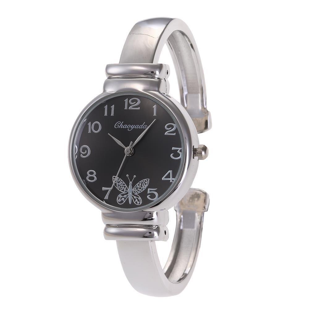 YAZILIND de cuarzo reloj de pulsera de mariposa dial reloj de aleación correa abierta (negro): Amazon.es: Relojes