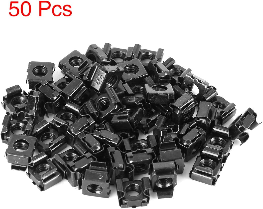 X AUTOHAUX 50pcs Car 6mm Mounting Cage Nut for License Plate Black Steel New