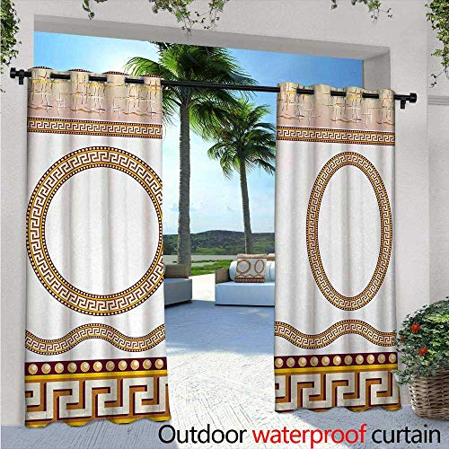 BlountDecor Greek Key Balcony Curtains W72 x L84 Ancient Fret Pattern in Oval and Circle Shapes Wavy Straight Borders Outdoor Patio Curtains Waterproof with Grommets Marigold Plum White ()