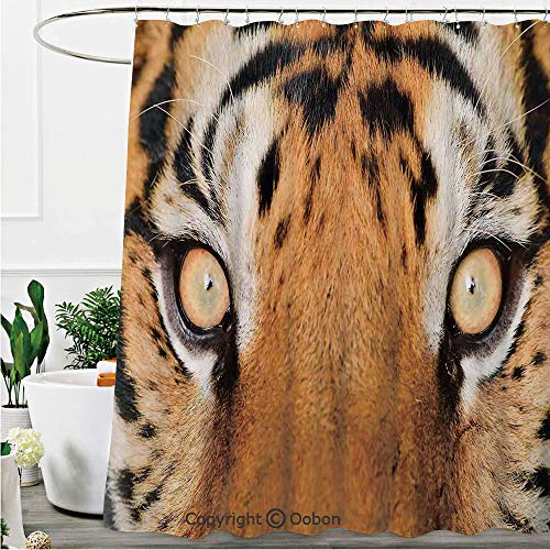 (Shower Curtains, Close up Tiger Eyes Hunter Look Feline Camouflage Coat Animal with Shady Colors Photo, Fabric Bathroom Decor Set with Hooks, 72 x 84 Inches)