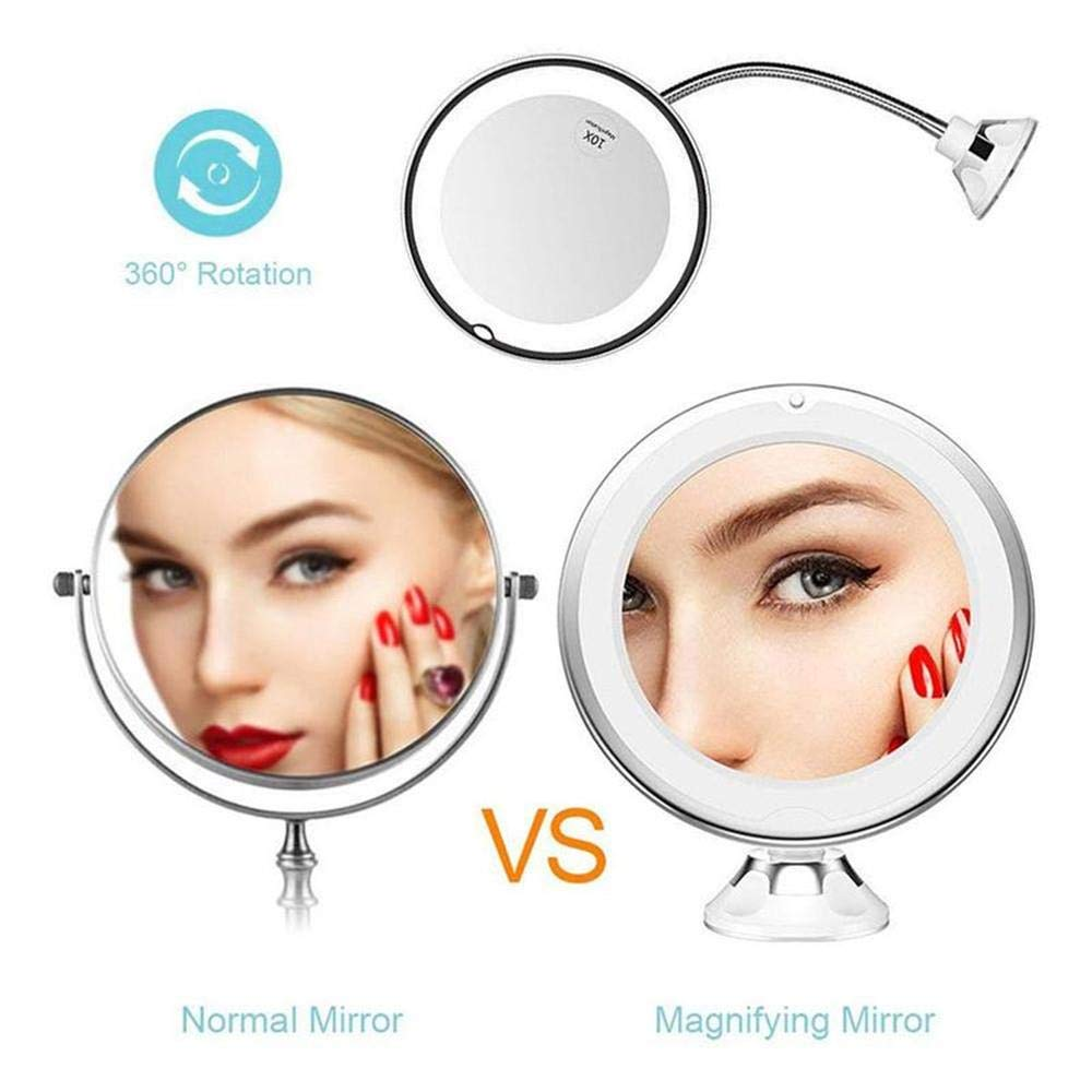 LED Makeup Mirror-360 rotating 10 times magnifying glass LED suction cup anti-fog mirror