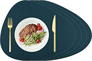 Silicone Placemats for Dining Table, Water Drop Shape Design Set of 4 Table Heat Resistant Placemats,100% Food Grade Non-Slip Washable Silicone Mats, Waterproof Placemats for Home Kitchen Dining Table