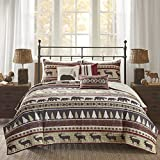 AM 6 Piece Red Animal Print King/Cal King Coverlet Set, Lodge Cabin Hunting Nature Theme Bedding, Horizontal Stripes Warm Cozy Bear Moose Evergreen Tree Print Diamond Shaped, Polyester