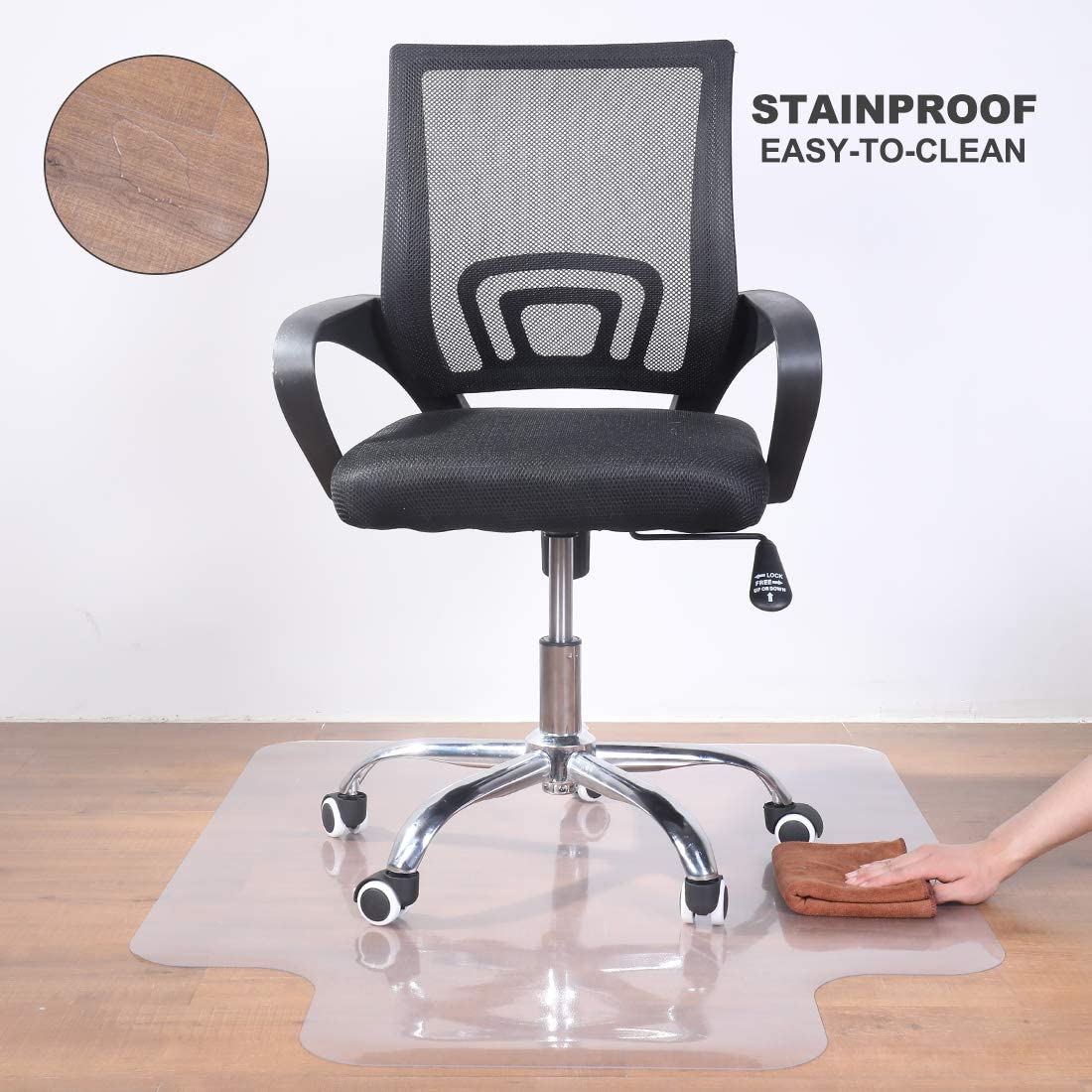 """Office Chair Mat for Hardwood Floor - 36""""x48"""" Clear PVC Desk Chair Mat - Heavy Duty Floor Protector for Home or Office - Easy Clean and Flat Without Curling : Office Products"""