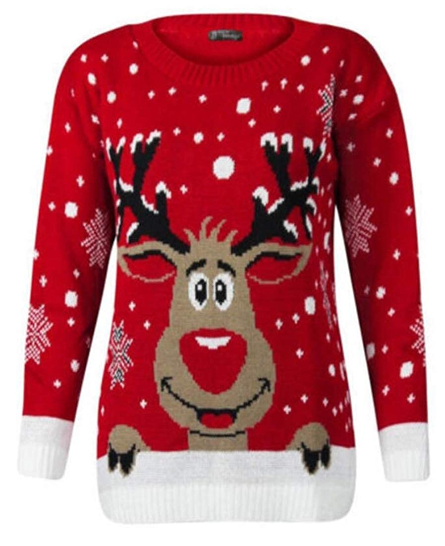 xiaohuoban Women's Ugly Christmas Sweater, Girls Cute Reindeer 3D Nose Sweater