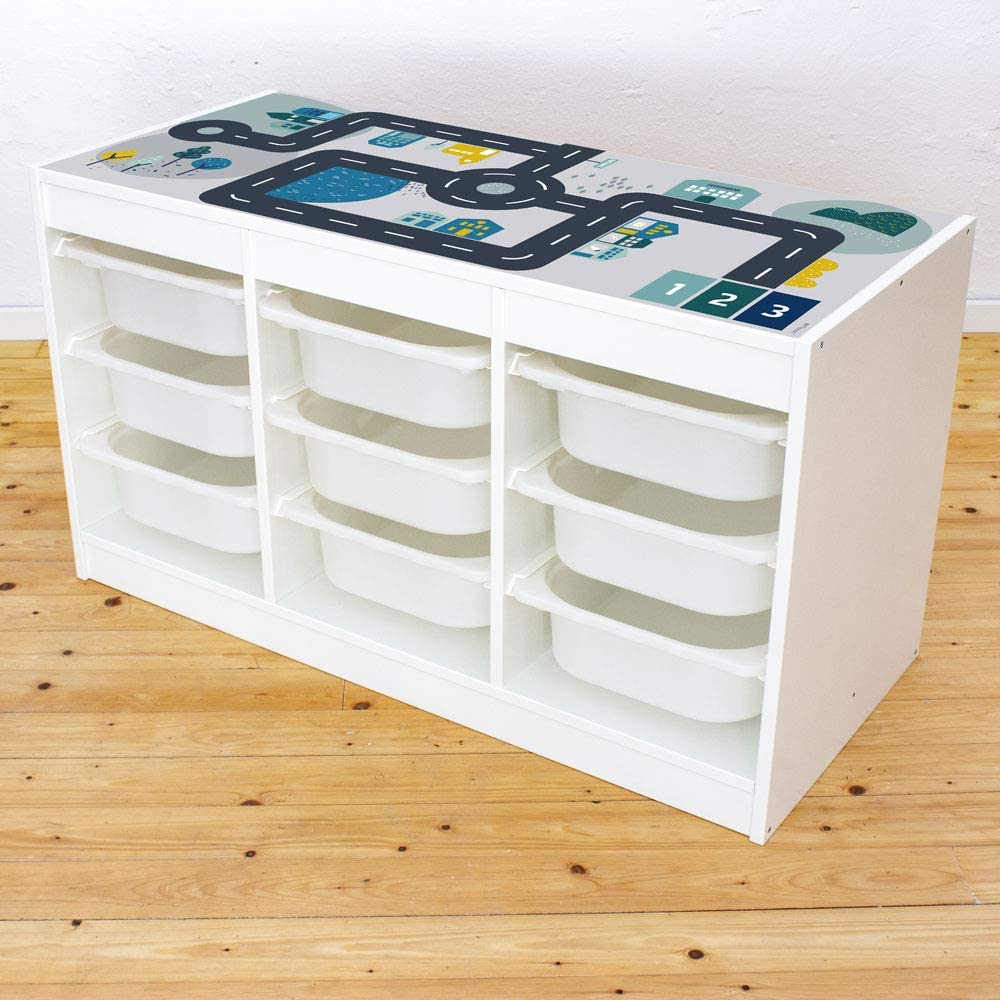 Limmaland – Adhesivo para Muebles de Carreteras – Apto para estantería IKEA TROFAST – Mesa de Juegos para habitación Infantil – Muebles no incluidos
