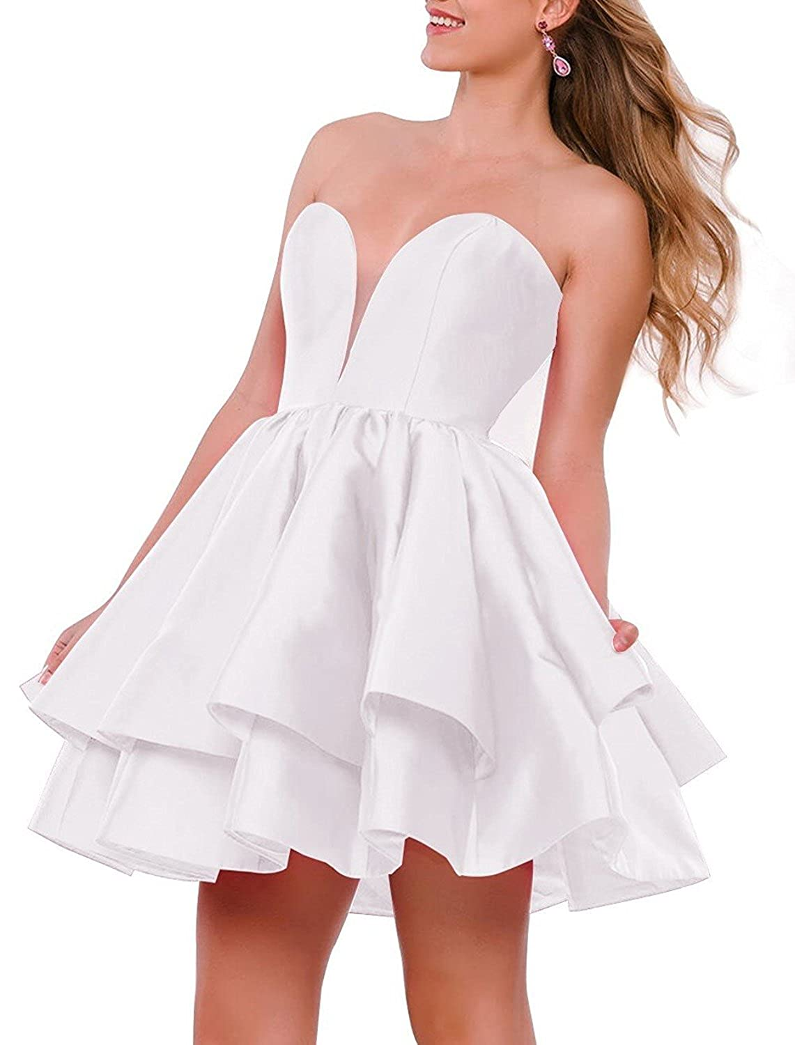 White JQLD Women Strapless Short Homecoming Dresses Ruffles Satin Prom Gown Formal with Pocket