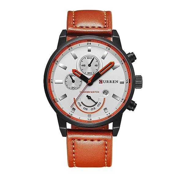 Curren - Relojes de pulsera deportivos de marca de lujo, modernos, informales de calidad superior; reloj de pulsera marrón 8217 de estilo militar para ...