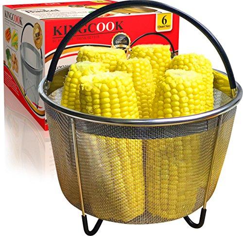 KingCook 6 qt Steamer Basket Instant Pot Accessories Fits Instapot 6 quart Pressure Cooker, Steam Vegetables, Eggs with Silicone Handles and Non-Slip Legs (Instant Pot 6 quart)