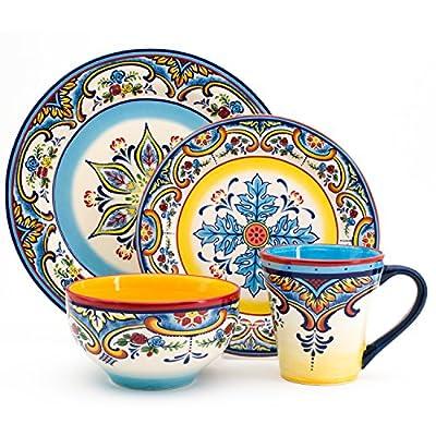 Euro Ceramica Inc. YS-ZB-1001 Zanzibar Collection Vibrant Ceramic Earthenware Dinnerware Set, 16 Piece, Spanish/Mexican Floral Design, Multicolor, Service for 4