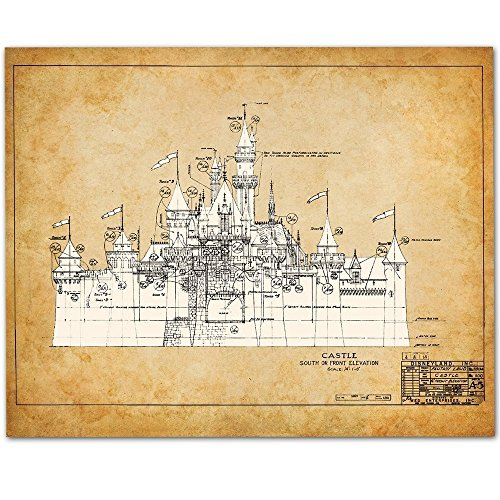 Disneyland Castle - 11x14 Unframed Patent Print - Great Gift for Disney Fan from Personalized Signs by Lone Star Art