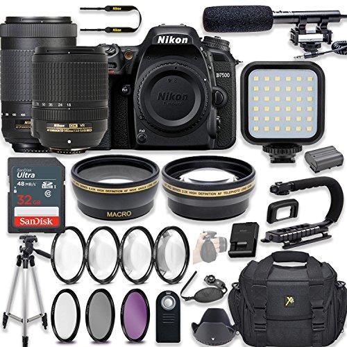 Nikon D7500 20.9 MP DSLR Camera Video Kit with AF-S 18-140mm VR Lens & AF-P 70-300mm ED VR Lens + LED Light + 32GB Memory + Filters + Macros + Deluxe Bag + Professional Accessories (Nikon Led)