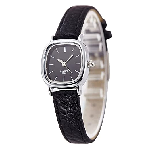 97535df85 Gets Women Small Wrist Watches Leather Strap Unique Simple Square Watch  Analog Classic Watch (Black