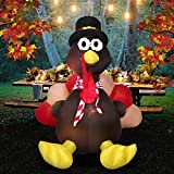 6 Foot Thanksgiving Inflatable Turkey, YUNLIGHTS Lighted Air Blown Inflatable Turkey with Pilgrim Hat Perfect Thanksgiving Autumn Decorations
