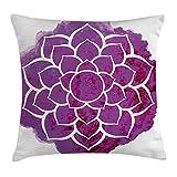 Queen Area Purple Mandala Watercolor Lotus Flower Yoga Meditation Zen Boho Style Painbrushwork Square Throw Pillow Covers Cushion Case for Sofa Bedroom Car 18x18 Inch, Fuchsia White