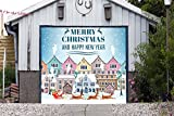 Christmas Сity Single Garage Door Covers Billboard Full Color 3D Effect Print Door Decor Decorations of House Garage Santa Holiday Mural Banner Garage Door Banner Size 83 x 96 inches DAV208