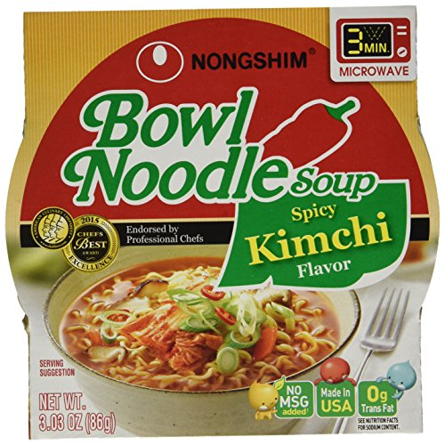 Nongshim Bowl Spicy Kimchi Noodle Soup, 3.03 Ounce (Pack of 6) (Kimchi Noodle)