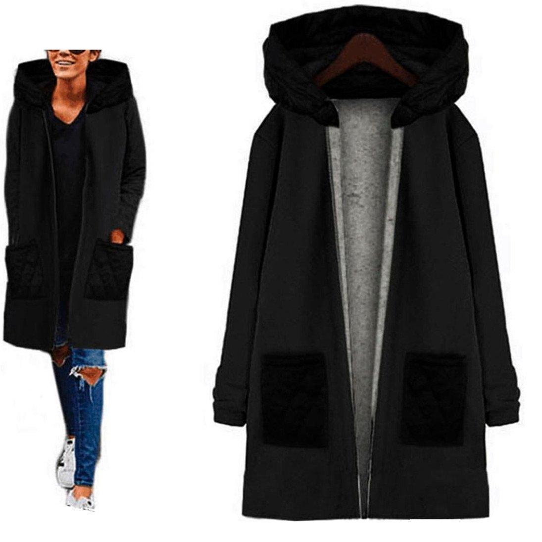Fheaven Women Fashion Long Sleeve Hooded Coat Double Pocket Jacket Winter Warm Windbreaker Outwear Top (M, Black)