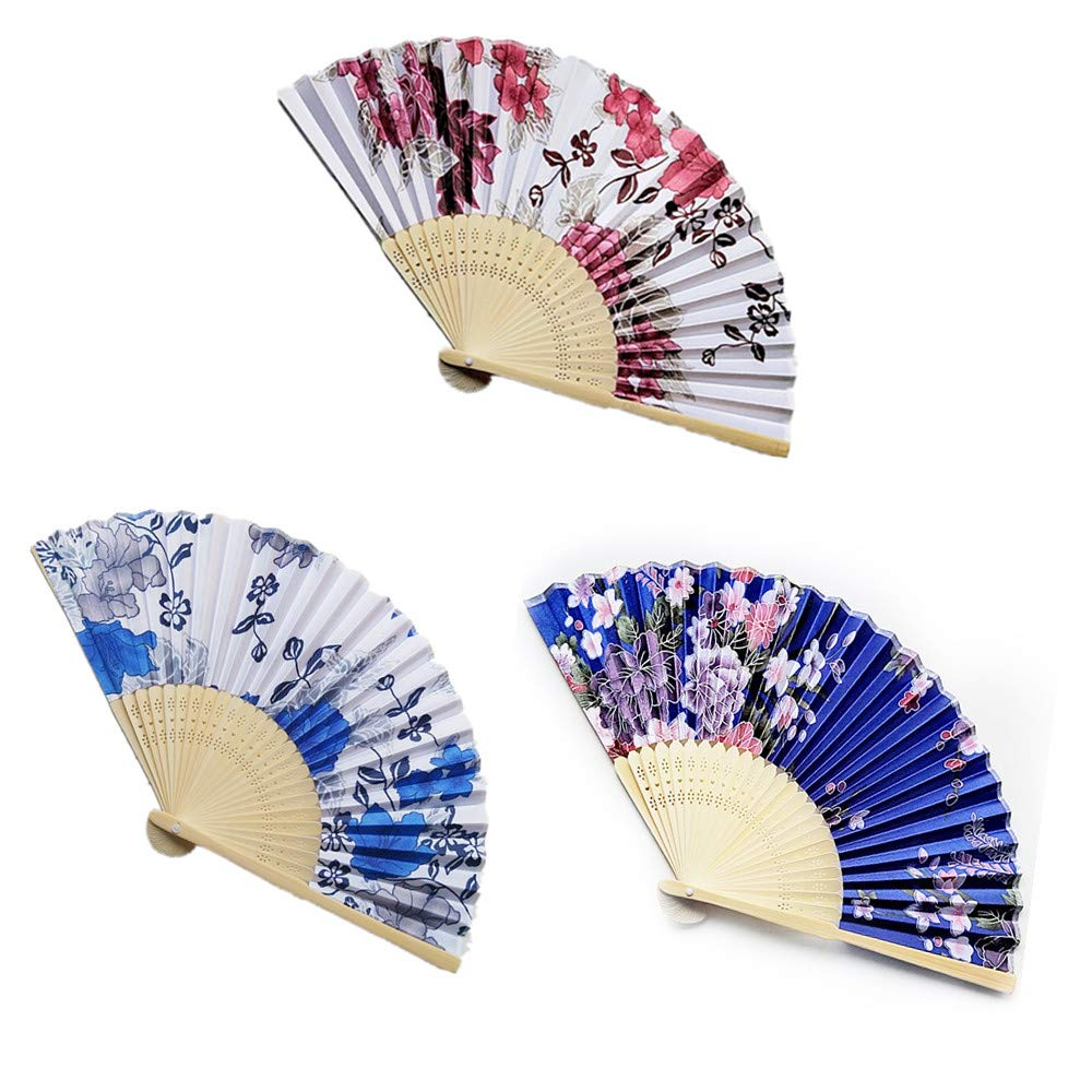 Floral Folding Hand Fan, AukCheire Vintage Handheld Lace Bamboo Silk Fabric Folding Fan with Different Flower Patterns Fabric Folding Fan for Wedding Dancing Party (2)