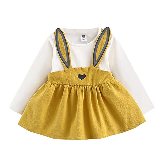 Mono Bebé, Niñas bebé Lindo otoño Conejo Vendaje Traje Mini Vestido Conjunto de Ropa 0-3 Años
