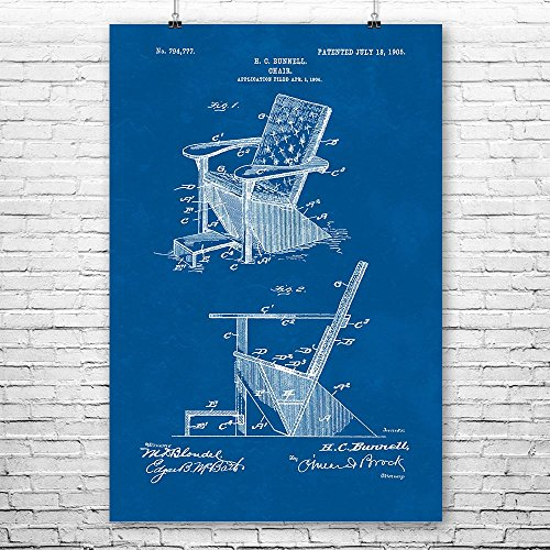 Adirondack Chair Poster Print, Plank Wood, Furniture Maker, Outdoor Seating, Retro Furniture, Wood Working, Patent Print Blueprint (9