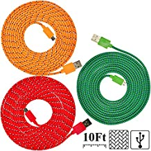 UNISAME [Pack of 3Pcs] 10Ft 3Meter Rugged Nylon Braided Micro USB Cable Charging & Sync Data Cable Charger Cord for Samsung Galaxy S6 S4 S3 Note 2 4 Mega Tab, Galaxy A3 A5 A7 E7, HTC One M9, Nexus 7, LG G3 G4, Moto G X (Orange, Red, Green)