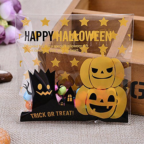Smartcoco 100pcs Spooky Pumpkin Halloween Trick or Treat Plastic Candy Bags for Party Favors, Snacks, Decoration, Children Arts & Crafts, Event Supplies (Snack Halloween)