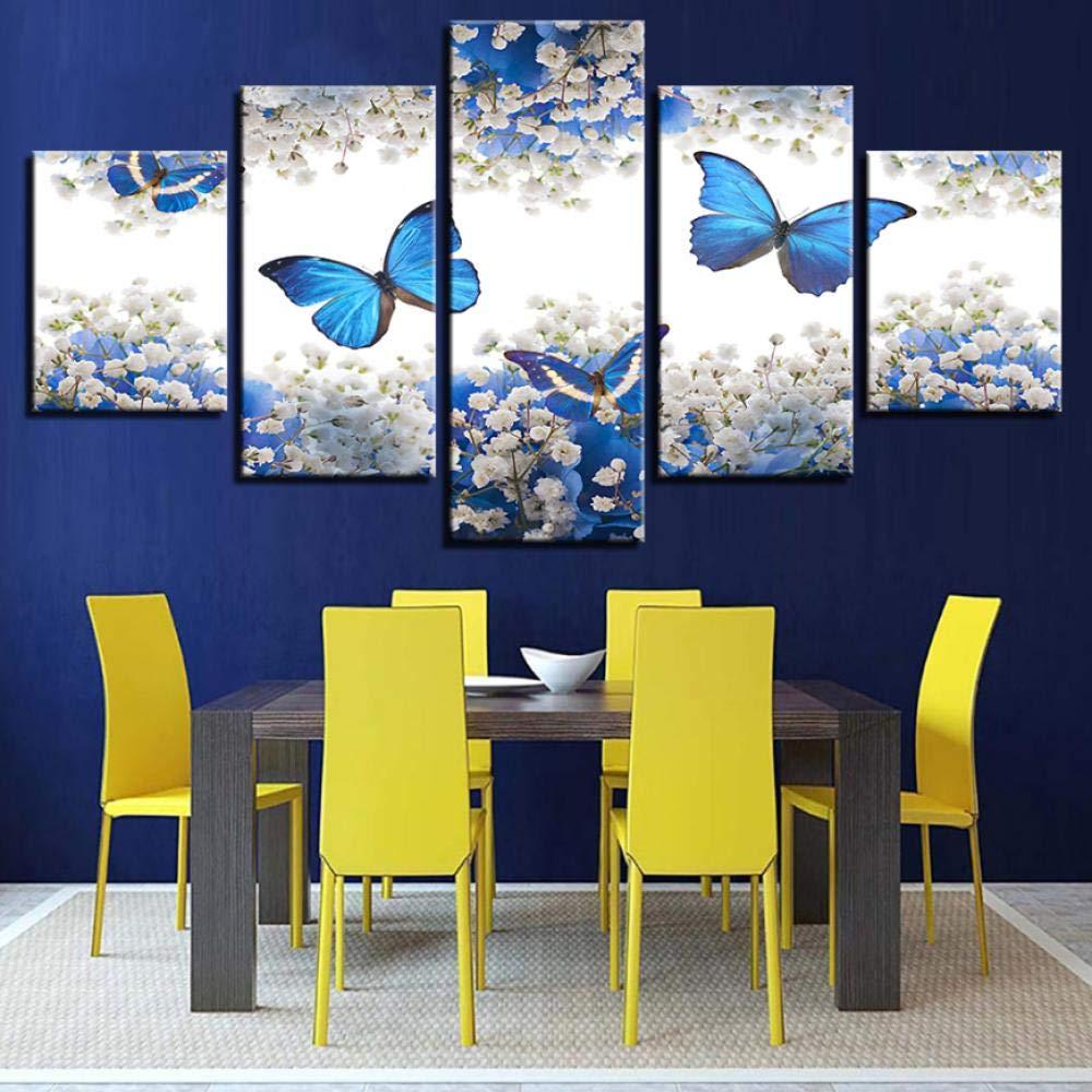 Leinwand Malerei Wandkunst Wohnkultur HD Print Poster 5 St/ücke Blaue Schmetterlinge Und Wei/ße Gypsophila Paniculata Bilder20x35cmx2 20x45cmx2 20x55cmx1