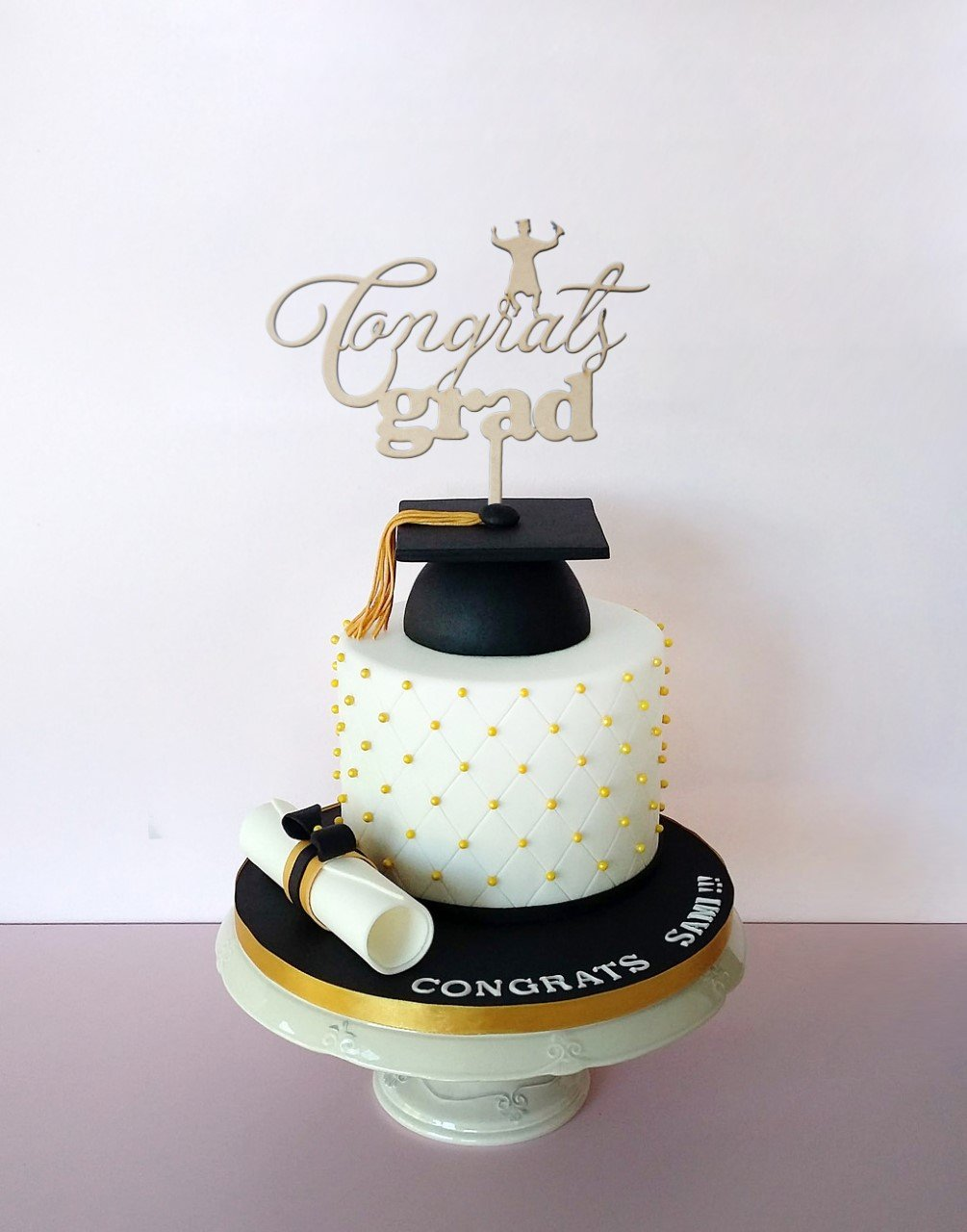 Cake Topper Graduation Congrats Grad 7 X9 inches Laser cut MDF Color Natural