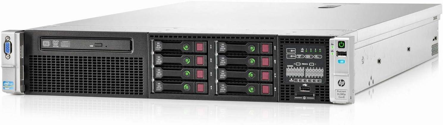 HP ProLiant DL380p Gen8 2U RackMount 64-bit Server 2×Ten-Core E5-2690v2 Xeon 3.0GHz CPUs 128GB PC3-12800R RAM 8×300GB SAS SFF P420i RAID DVD-ROM 4×GigaBit NIC 2×Power Supplies NO OS (Renewed)