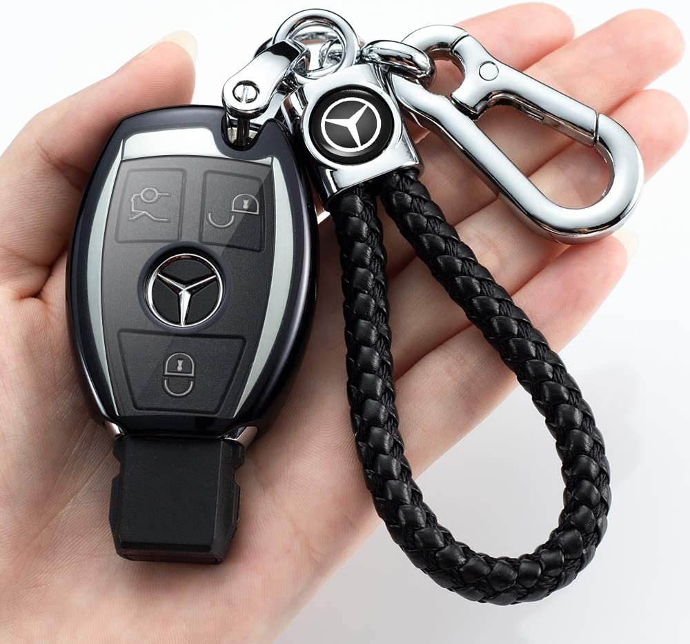 Premium Soft TPU Key Case Cover Compatible with Mercedes Benz C E S M CLS CLK G Class Keyless Smart Key Fob+1pac keychain for Benz key case for Mercedes Benz Key Fob Cover