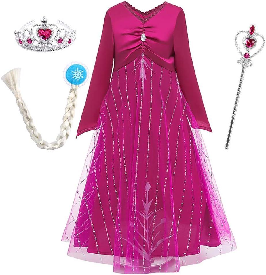 OwlFay Disfraz de Princesa Carnival para Niñas Vestidos de Fiesta Navidad Halloween Cosplay Costume Outfit Rosa 5-6 Años: Amazon.es: Juguetes y juegos