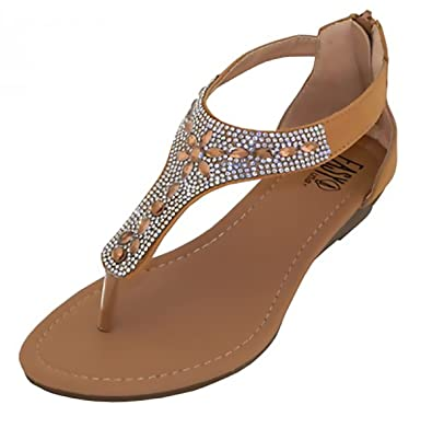 77892acadffca9 Easy Crystal Rhinestone Jeweled Thong Gladiator Low Wedge Sandals (6