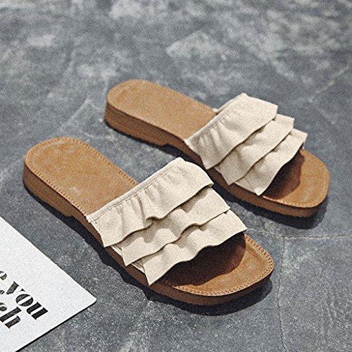 LIUXUEPIN Las Nuevas Sandalias De Moda Femenina De Verano Y Zapatillas De Desgaste Exterior Zapatos De Playa Retro Zapatillas De Playa De Fondo Plano Marino Beige