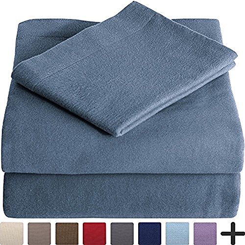 100% Cotton Velvet Flannel Sheet Set - Extra Soft Heavyweight - Double Brushed Flannel - Deep Pocket (Twin XL, Coronet Blue)