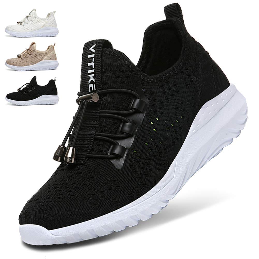 WETIKE Kids Sneakers Boys High Top Athletic Gym Shoes Lightweight Comfortable Tennis Shoes Slip on No Laces Trainers Shoes Soft Knit Youth Shoes Big Little Kids Black Size 5.5 by WETIKE